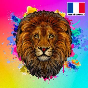 Coupon de velours ras multicolore imprimé lion 45x45cm