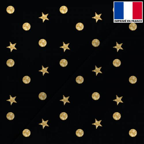 Satin noir imprimé Noël étoile et rond doré