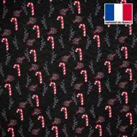 Feutrine noire motif canne à sucre et baie de Noël