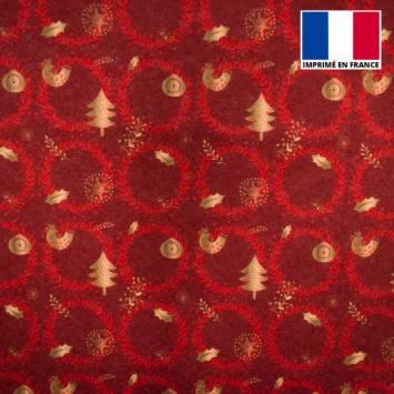 Feutrine bordeaux motif couronne de Noël rouge