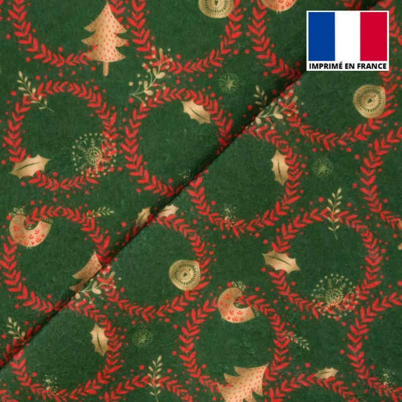 Feutrine verte motif couronne de Noël rouge