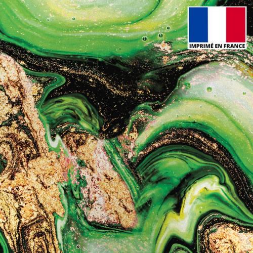 Lycra imprimé magma noir et vert et poudre d'or