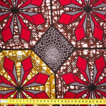 Wax - Tissu africain marron motif losange rouge 437