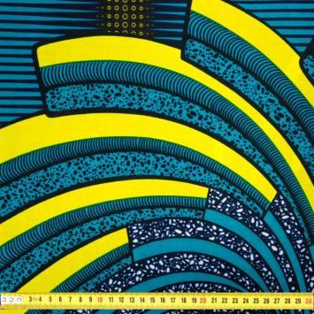Wax - Tissu africain motif vert turquoise, jaune et noir 433