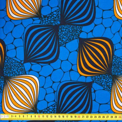 Wax - Tissu africain motif orange et bleu 432