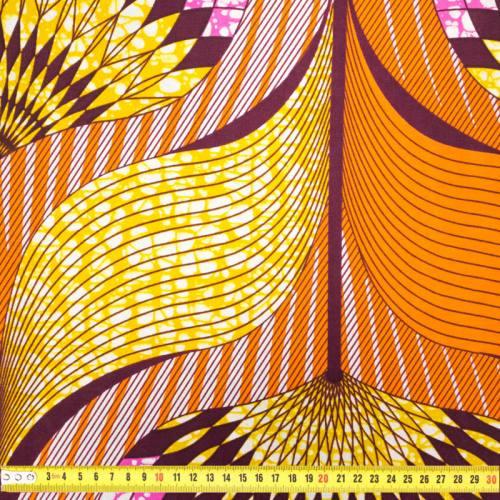 Wax - Tissu africain motif orange, rose, jaune et prune 431