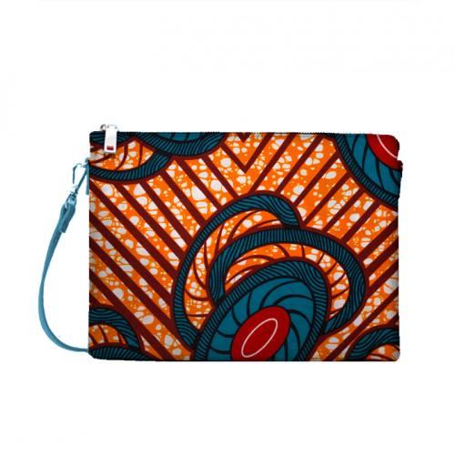 Wax - Tissu africain orange motif rond émeraude 428