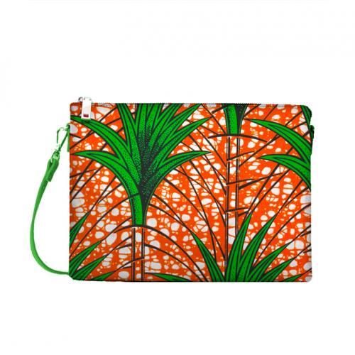 Wax - Tissu africain orange motif plante verte 423