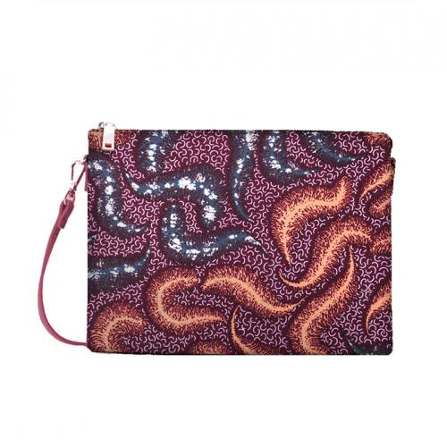 Wax - Tissu africain prune motif plume 412