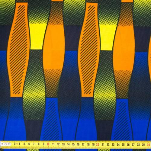 Wax - Tissu africain orange et bleu roi motif vague 407
