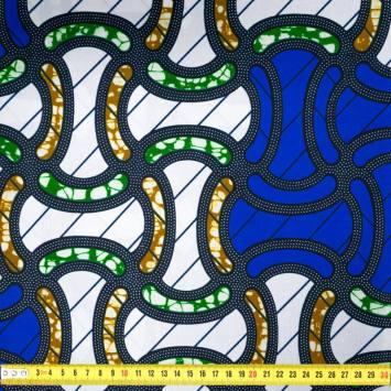 Wax - Tissu africain motif blanc, bleu, vert et marron 405