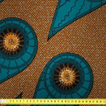 Wax - Tissu africain émeraude motif soleil orange 404