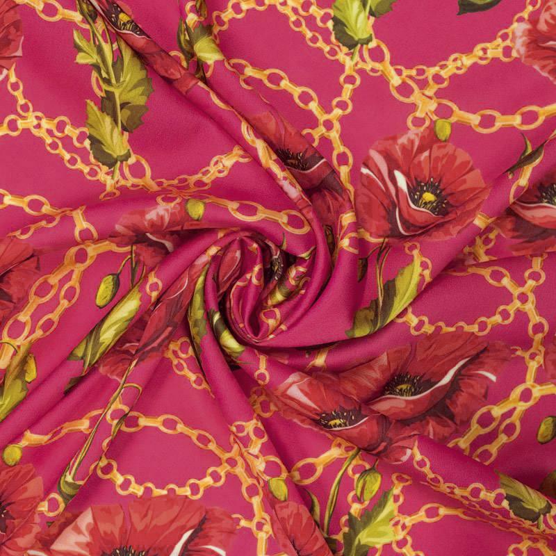 Satin rose imprimé coquelicot et chaîne
