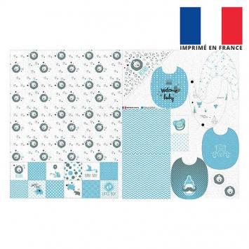 Coupon éponge kit puériculture baby bleu et gris