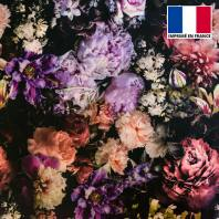 Velours ras noir imprimé dark flower photography
