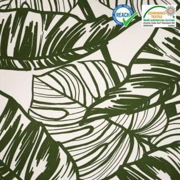 Toile coton écrue motif jungle vert