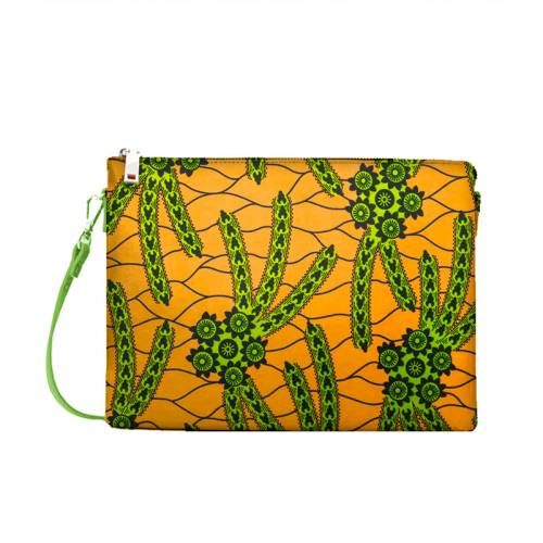 Wax - Tissu africain orange motif cactus vert 417