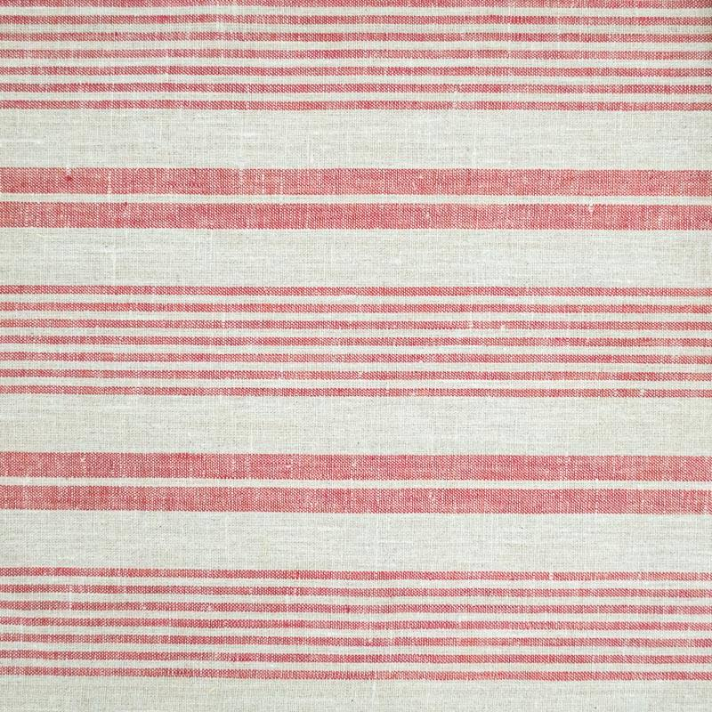 Tissu lin naturel tissage rayures rouges