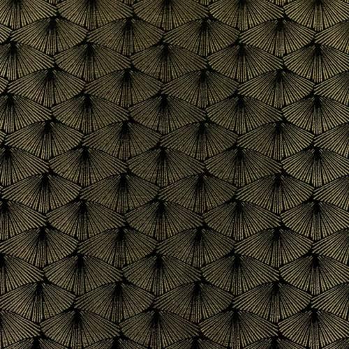Jacquard noir platine éventail bronze