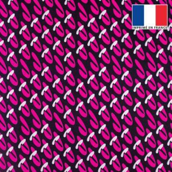 coupon - Coupon 35cm - Velours ras noir motif duo de formes abstraites roses et grises