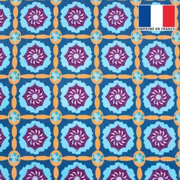 coupon - Coupon 30cm - Velours ras bleu motif mosaïque florale géométrique violette et orange