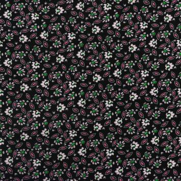 Tissu viscose noir imprimée fleur et pétale verte et rose