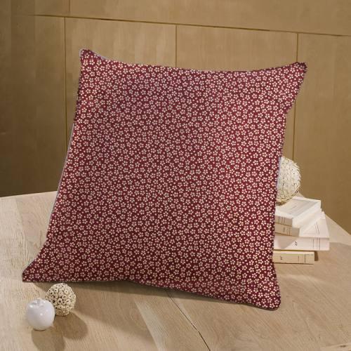 coupon - Coupon 22x130cm - Coton bordeaux motif petite fleur beige