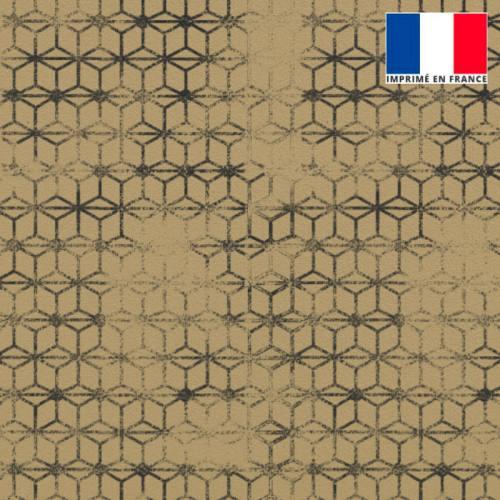 Velours beige imprimé assemblage géométrique effacé gris foncé