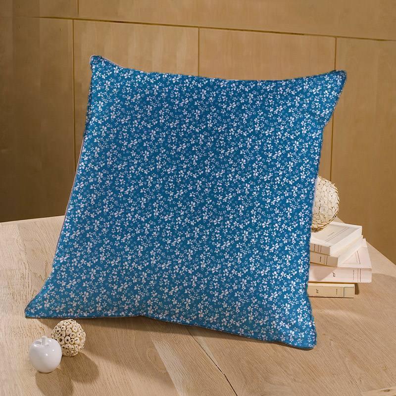 Coton bleu horizon motif fleur blanche difatti