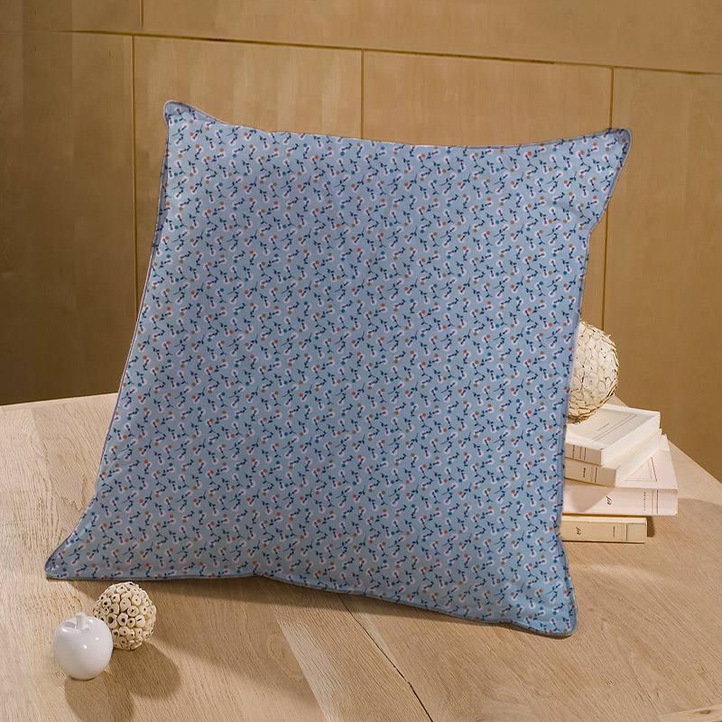 Coton bleu clair motif fleur blanche à pois ocre rouille et bleu