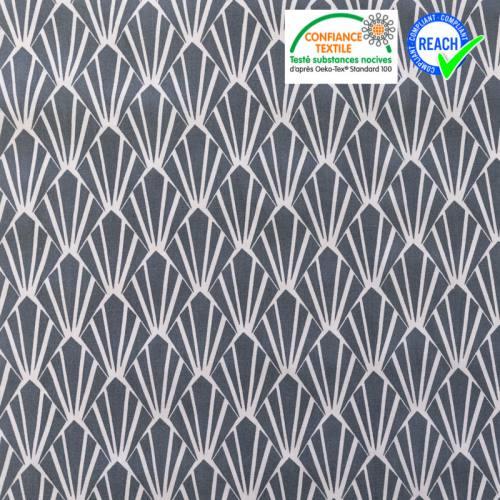 Coton blanc motif écaille art déco gris oraz