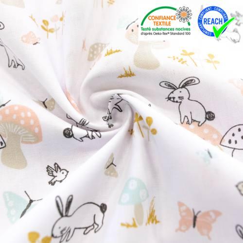 Coton blanc motif lapin et champignon
