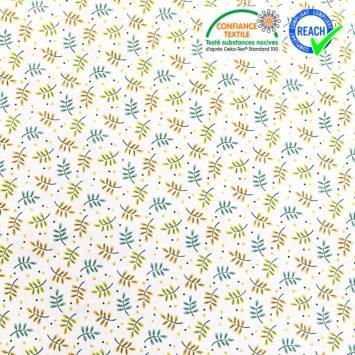 Coton blanc motif branches vertes et safran