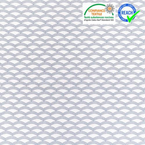 Coton blanc motif vagues en pointillés bleus