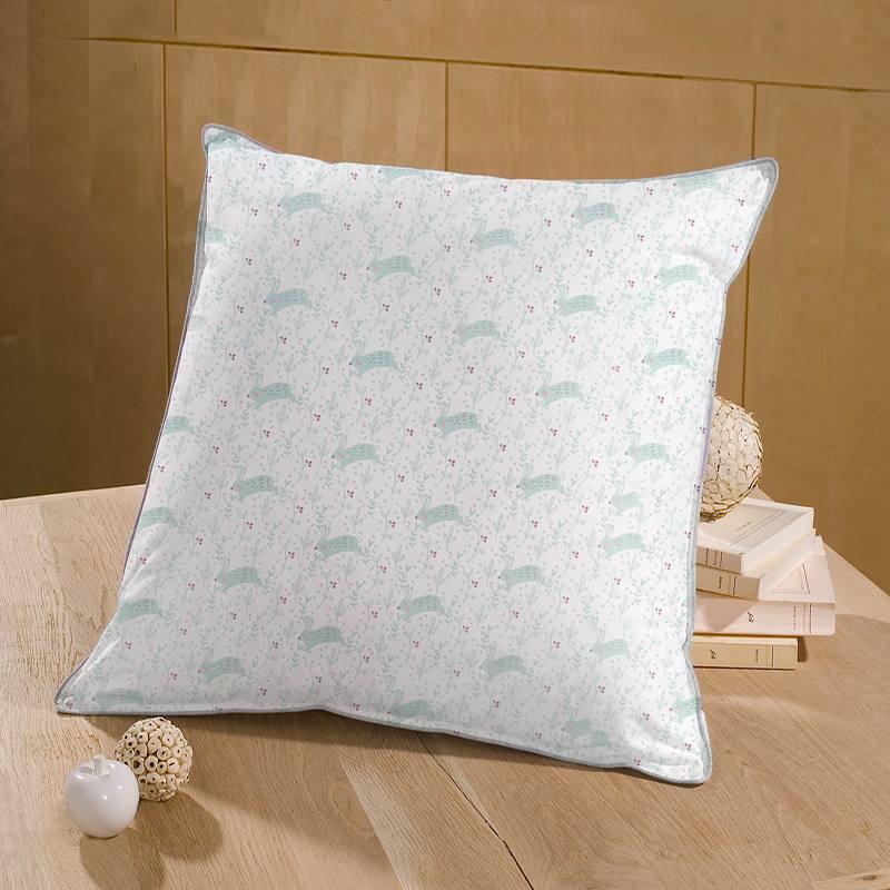 Coton blanc motif feuille et lapin vert sauge