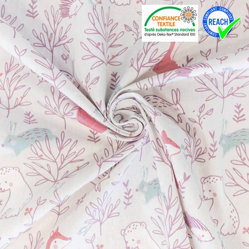 Coton gris de lin motif feuille et lapin rose Mountbatten