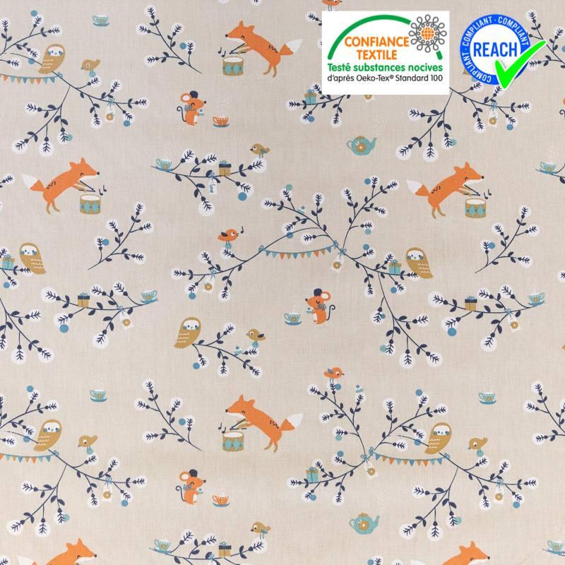 Coton grège motif renard branche et chouette