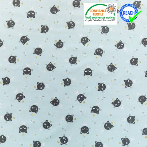 Coton bleu glacier motif chat noir et étoile