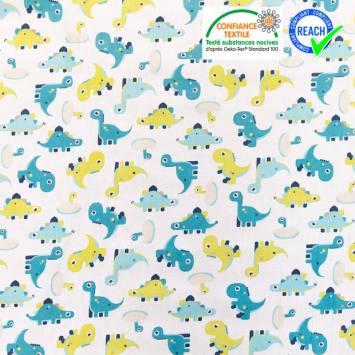 Coton blanc motif dinosaure bleu lagon minmi