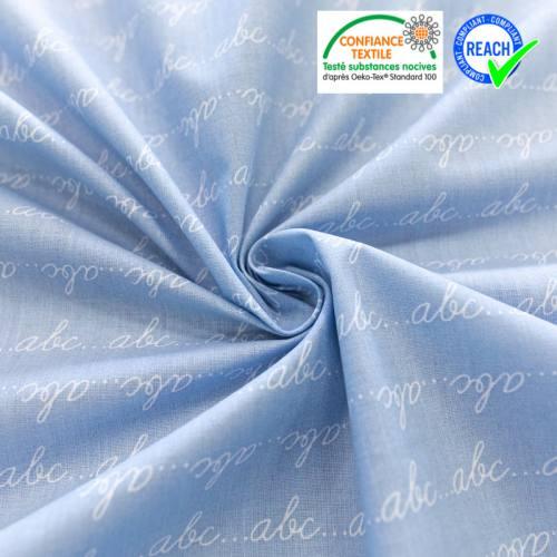 Coton bleu ciel imprimé abc