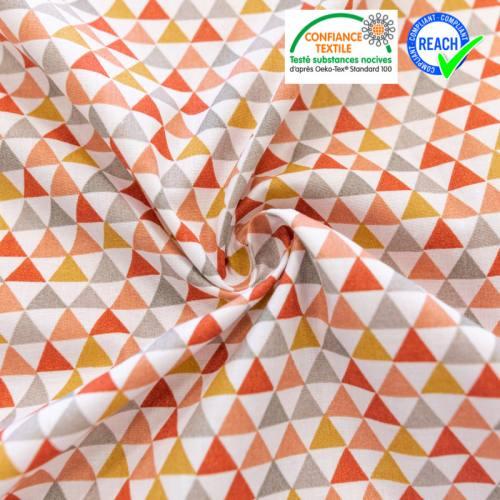 Coton blanc motif triangle isuzu terracotta ocre et gris