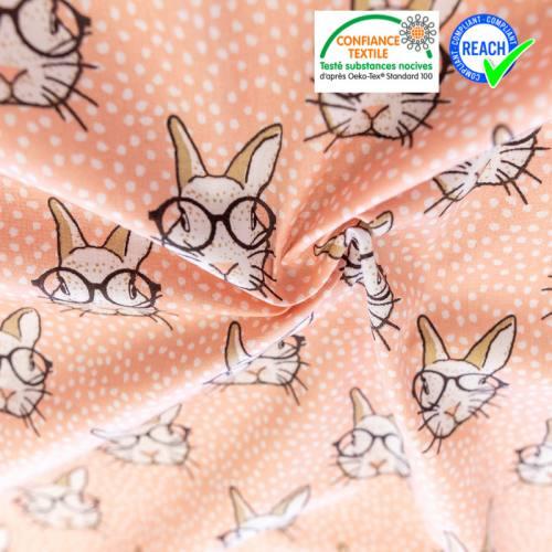 Coton pêche motif lapin et pois blancs