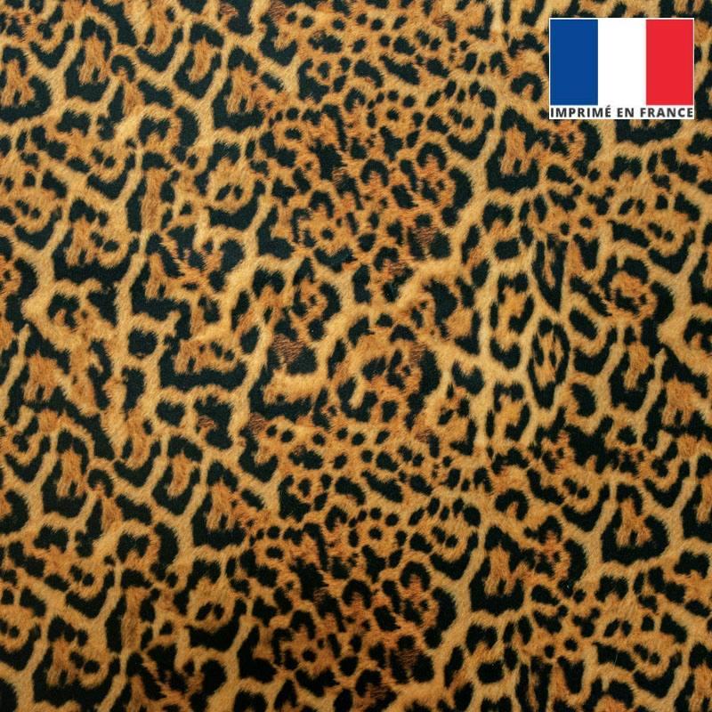 Velours ras motif léopard