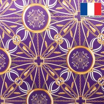 Satin violet imprimé chaine et ruban bleu et écru