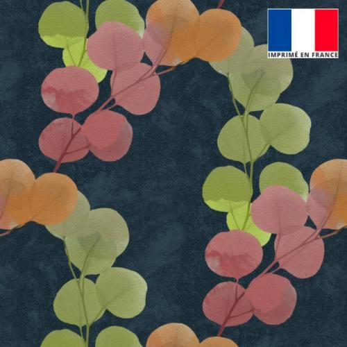 Velours ras bleu turquin imprimé feuilles rose vertes orange