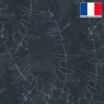 Velours ras bleu minéral imprimé branches