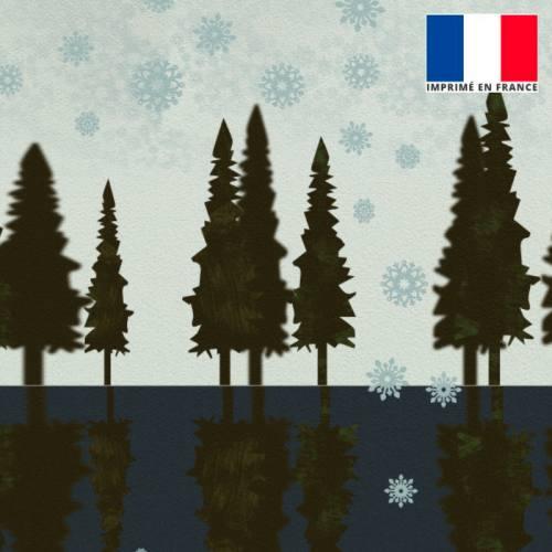 Coupon velours ras bleu imprimé sapin effet miroir 45x45cm