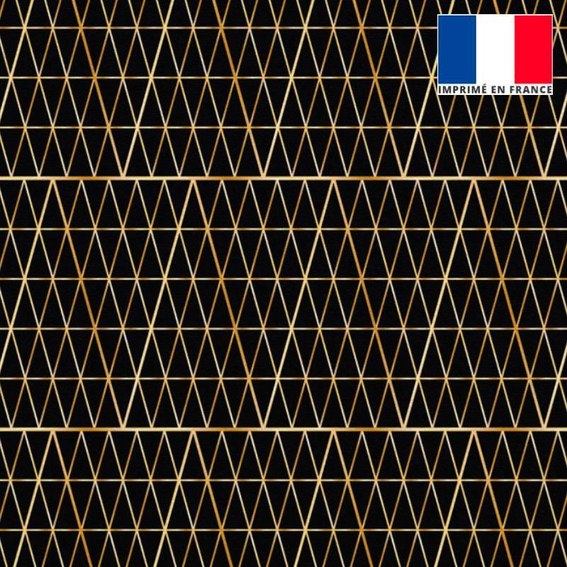Velours ras noir motif grand triangle losange doré