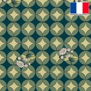 Velours ras bleu canard imprimé jasmin géométrique