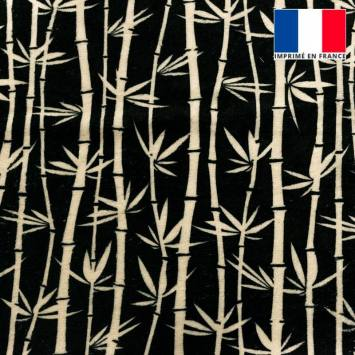 Eponge noire imprimée bambou écru